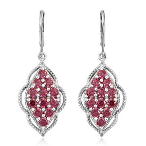 J Francis - Platinum Over Sterling Silver Lever Back Earrings Made with Red SWAROVSKI ZIRCONIA TGW 4.85 cts.