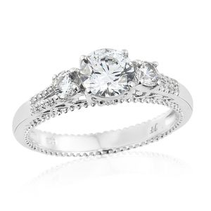 J Francis - Platinum Over Sterling Silver Ring Made with SWAROVSKI ZIRCONIA (Size 7.0) TGW 3.26 cts.