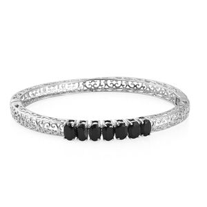 Thai Black Spinel Stainless Steel Openwork 7 Stone Bangle (7.25 in) TGW 7.00 cts.