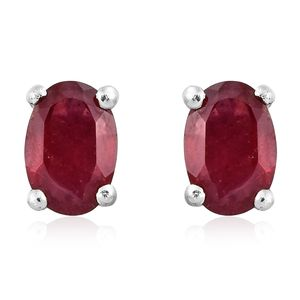 Niassa Ruby Platinum Over Sterling Silver Stud Earrings TGW 1.50 cts.