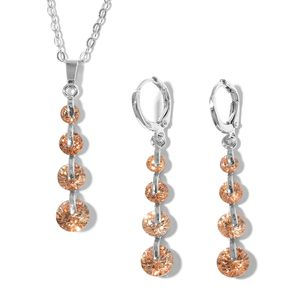 Simulated Champagne Diamond Stainless Steel Lever Back Earrings and Pendant With Chain (18 in) TGW 6.00 cts.