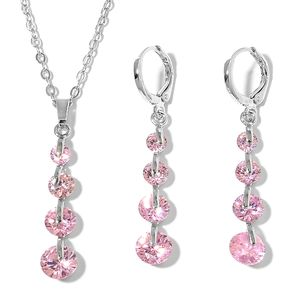 Simulated Pink Sapphire Stainless Steel Lever Back Earrings and Pendant With Chain (18 in) TGW 6.00 cts.