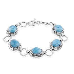 Bali Legacy Collection Larimar Sterling Silver Toggle Clasp Bracelet (7.00-7.50In) TGW 33.91 cts.