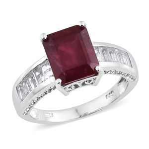 Niassa Ruby, White Topaz Platinum Over Sterling Silver Ring (Size 7.0) TGW 8.67 cts.