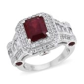 Niassa Ruby, White Topaz Platinum Over Sterling Silver Ring (Size 7.0) TGW 10.90 cts.