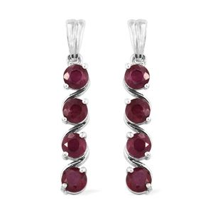 Niassa Ruby Platinum Over Sterling Silver Earrings TGW 3.45 cts.