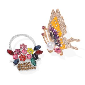Set of 2 Multi Color Gemstone Crystal, Chroma, Enameled Goldtone Floral Basket and Butterfly Brooch