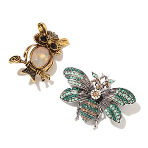 Multi Color Austrian Crystal, Multi Gemstone Silvertone & Goldtone Set of 2 Bee and Owl Brooch TGW 12.80 cts.