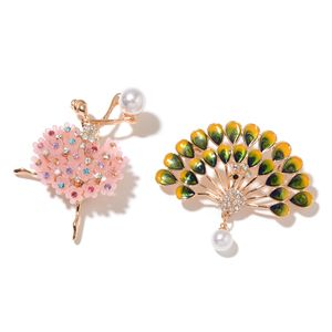 Resin, Multi Gemstone, Enameled Goldtone Set of 2 Fairy and Peacock Brooch TGW 13.00 cts.