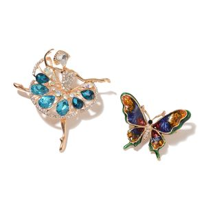 Blue Glass, Multi Gemstone, Enameled Goldtone Set of 2 Butterfly and Ballerina Brooch TGW 10.90 cts.