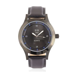 Kevin's Presidential Deal EON 1962 Madagascar Blue Sapphire Swiss Movement Water Resistant Watch with Black Leather Strap & Stainless Steel Back TGW 0.36 cts.
