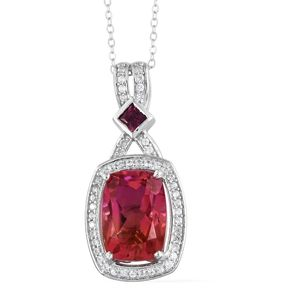 Arizona Sunset Quartz, Multi Gemstone Platinum Over Sterling Silver Pendant With Chain (20 in) TGW 8.19 cts.