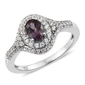 Burmese Lavender Spinel, Cambodian Zircon Platinum Over Sterling Silver Ring (Size 5.0) TGW 1.71 cts.