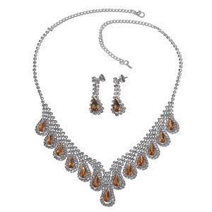 Simulated Citrine, White Austrian Crystal Silvertone Drop Earrings and BIB Necklace (22 in)