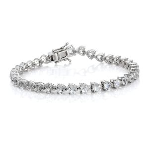 TLV White Topaz Platinum Over Sterling Silver Bracelet (8.00 In) TGW 16.23 cts.