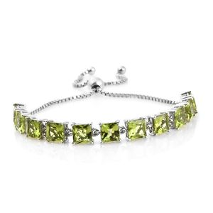 Hebei Peridot Platinum Over Sterling Silver Bolo Bracelet (Adjustable) TGW 14.25 cts.