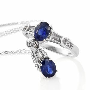 Masoala Sapphire, White Topaz Platinum Over Sterling Silver Ring (Size 7) and Pendant With Chain (20 in) TGW 4.21 cts.
