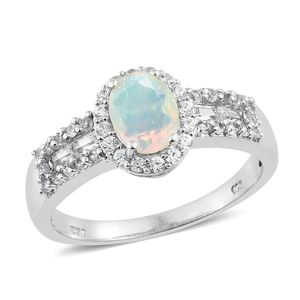 Ethiopian Welo Opal, Multi Gemstone Platinum Over Sterling Silver Ring (Size 5.0) TGW 1.57 cts.