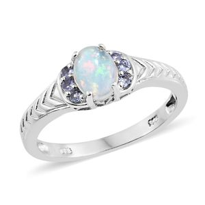 Ethiopian Welo Opal, Tanzanite Platinum Over Sterling Silver Ring (Size 8.0) TGW 0.88 cts.