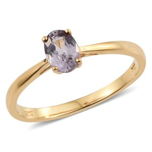 Burmese Lavender Spinel Vermeil YG Over Sterling Silver Solitaire Ring (Size 8.0) TGW 0.90 cts.