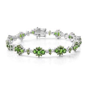 MEGA CLEARANCE Russian Diopside Sterling Silver Bracelet (7.50 In) TGW 9.02 cts.