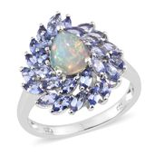 Ethiopian Welo Opal, Tanzanite Platinum Over Sterling Silver Ring (Size 8.0) TGW 3.25 cts.