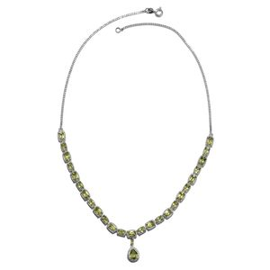 Hebei Peridot, Cambodian Zircon Platinum Over Sterling Silver Drop Necklace (18 in) TGW 11.38 cts.