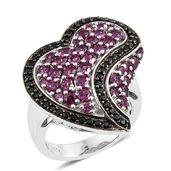 Orissa Rhodolite Garnet, Thai Black Spinel Platinum Over Sterling Silver Heart Ring (Size 5.0) TGW 4.54 cts.
