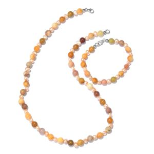 Honey Quartz, Freshwater Pearl Platinum Over Sterling Silver Bracelet (7.50 in) and Necklace (20.00 In) TGW 116.00 cts.