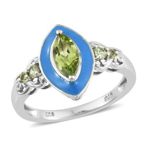 Hebei Peridot, Enameled Platinum Over Sterling Silver Ring (Size 7.0) TGW 1.29 cts.