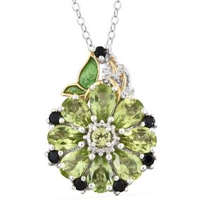 Hebei Peridot, Thai Black Spinel 14K YG and Platinum Over Sterling Silver Flower Pendant With Chain (20 in) TGW 4.00 cts.