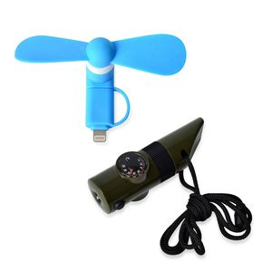 Blue Chroma USB Mobile Fan (iphone Android) and 7 in 1 Green Survival Whistle