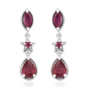 Niassa Ruby Platinum Over Sterling Silver Drop Earrings TGW 2.74 cts.