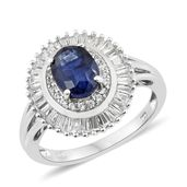 Masoala Sapphire, Cambodian Zircon Platinum Over Sterling Silver Ring (Size 9.0) TGW 4.20 cts.