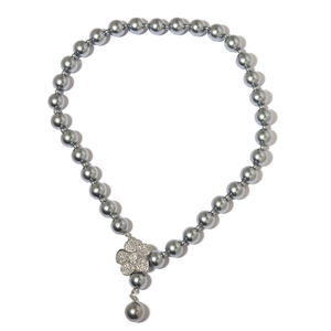 Grey Glass Pearl, Resin, White Austrian Crystal Silvertone Necklace (22 in) TGW 550.00 cts.