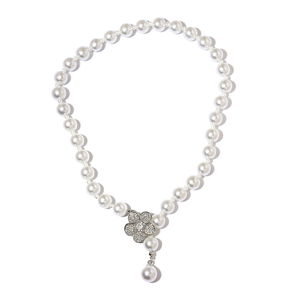 White Glass Pearl, Resin, White Austrian Crystal Silvertone Necklace (22 in) TGW 550.00 cts.