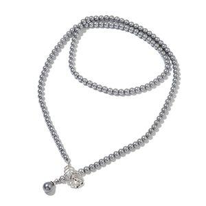 Gray Simulated Pearl, Simulated Multi Gemstone Dark Silvertone Lariat Necklace (42 in)