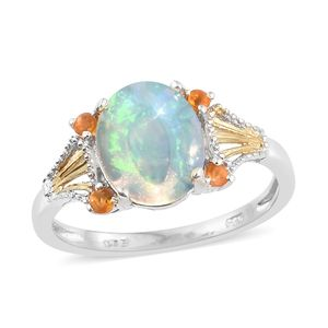 Ethiopian Welo Opal, Jalisco Fire Opal 14K YG and Platinum Over Sterling Silver Ring (Size 9.0) TGW 2.65 cts.