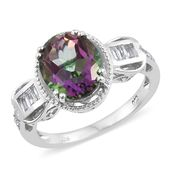 Mystic Fire Green Topaz, White Topaz Platinum Over Sterling Silver Ring (Size 7.0) TGW 5.85 cts.