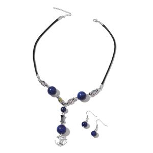 Lapis Lazuli, Hematite, Magic Color Glass Black Oxidized Silvertone & Stainless Steel Earrings and Anchor Charm Necklace (18 in) TGW 171.00 cts.