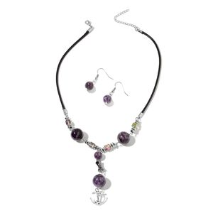 Amethyst, Hematite, Magic Color Glass Black Oxidized Silvertone & Stainless Steel Earrings and Anchor Charm Necklace (18 in) TGW 127.50 cts.