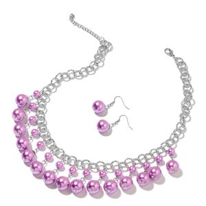 Host Pick Purple Glass Pearl Iron, Stainless Steel Earrings and Necklace (18 in) TGW 279.50 cts.