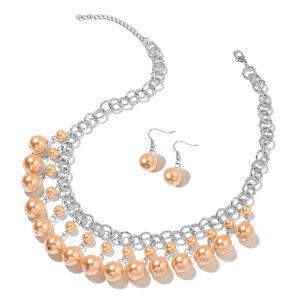 Host Pick Champagne Glass Pearl Iron, Stainless Steel Earrings and Necklace (18 in) TGW 289.25 cts.