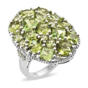 Hebei Peridot Platinum Over Sterling Silver Statement Cluster Ring (Size 5.0) TGW 14.34 cts.