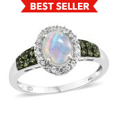Ethiopian Welo Opal, Multi Gemstone Platinum Over Sterling Silver Ring (Size 9.0) TGW 1.71 cts.