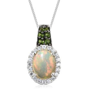 Ethiopian Welo Opal, Multi Gemstone Platinum Over Sterling Silver Pendant With Chain (20 in) TGW 1.62 cts.
