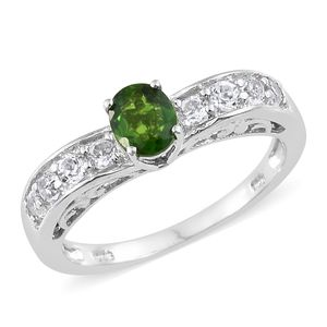 Russian Diopside, White Topaz Platinum Over Sterling Silver Ring (Size 7.0) TGW 1.39 cts.