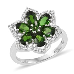 Russian Diopside, Cambodian Zircon Platinum Over Sterling Silver Floral Ring (Size 7.0) TGW 3.50 cts.