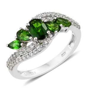 Russian Diopside, Cambodian Zircon Platinum Over Sterling Silver Ring (Size 5.0) TGW 2.25 cts.