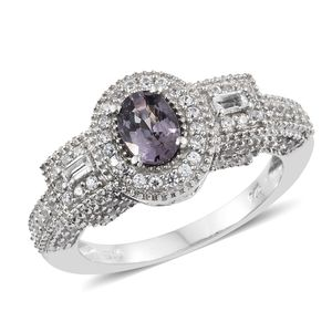 Nitin's Knockdown Deals Burmese Lavender Spinel, White Topaz, Cambodian Zircon Platinum Over Sterling Silver Ring (Size 6.0) TGW 1.94 cts.